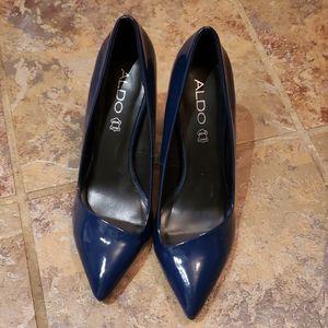 ALDO Navy Patent heel